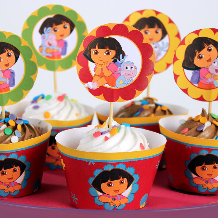 Dora Cupcake Toppers and Wrappers