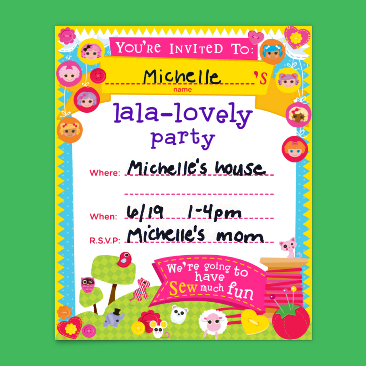 Lalaloopsy Party Invitations