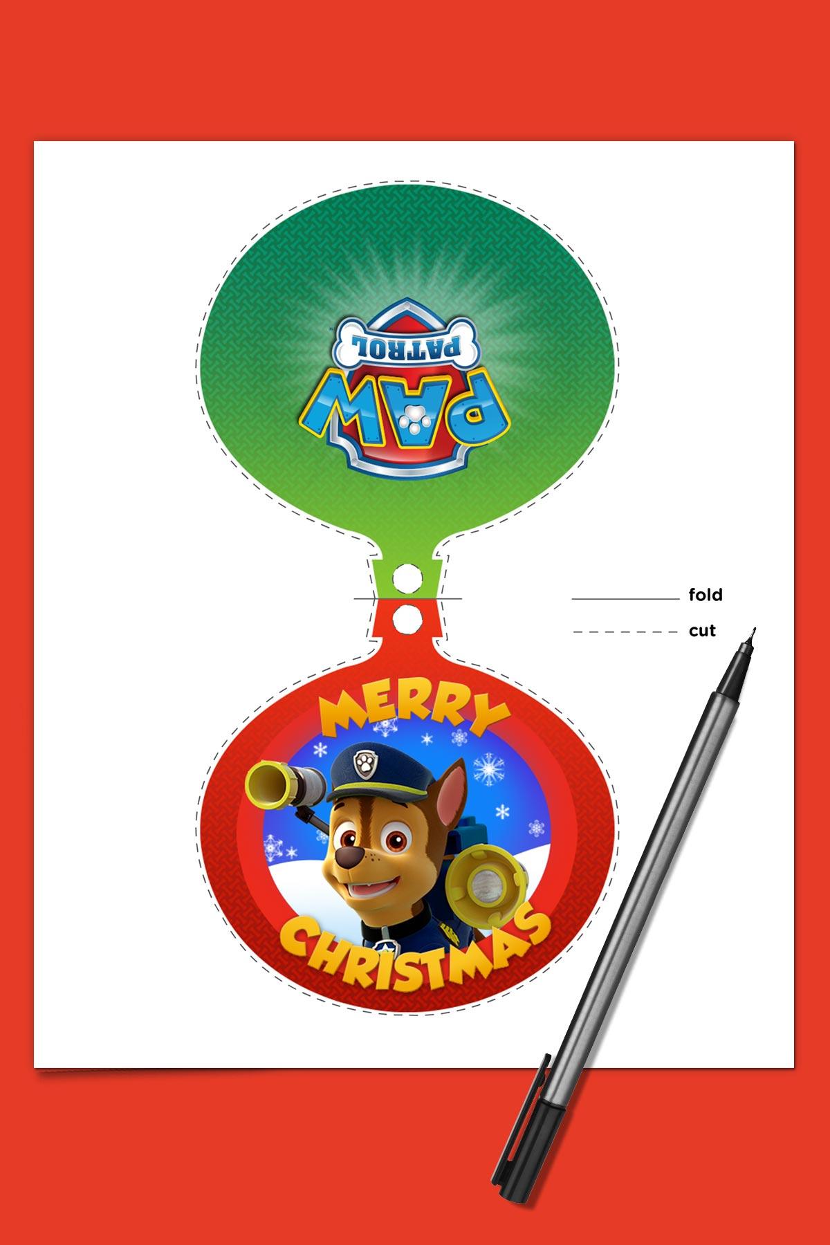paw patrol christmas greeting card