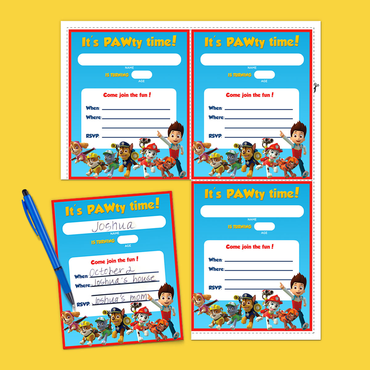 PAW Patrol Birthday Party Invitations Nickelodeon Parents - Paw patrol invitation template