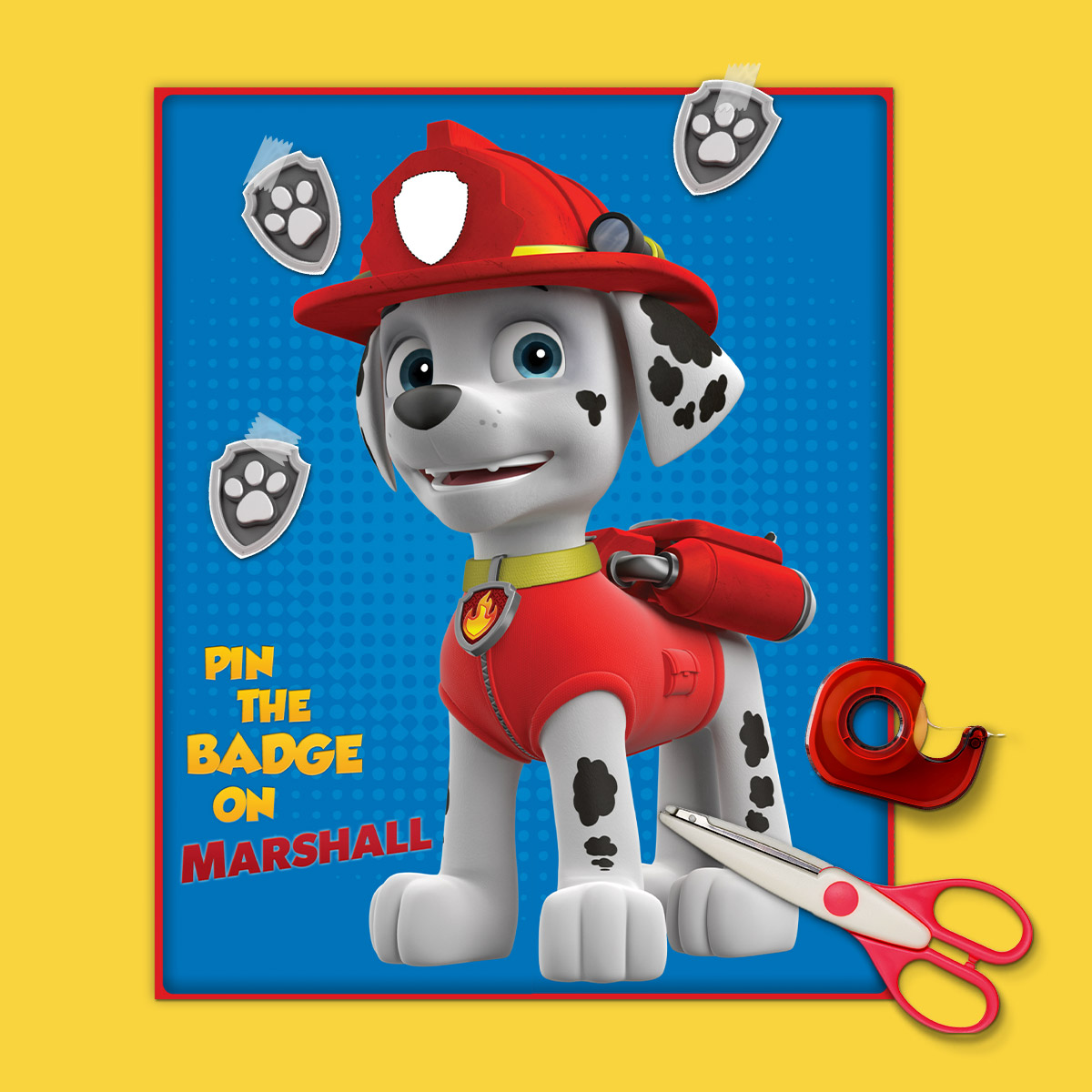 image regarding Free Printable Paw Patrol Badges referred to as Pin the Badge upon Marshall Birthday Get together Sport Nickelodeon