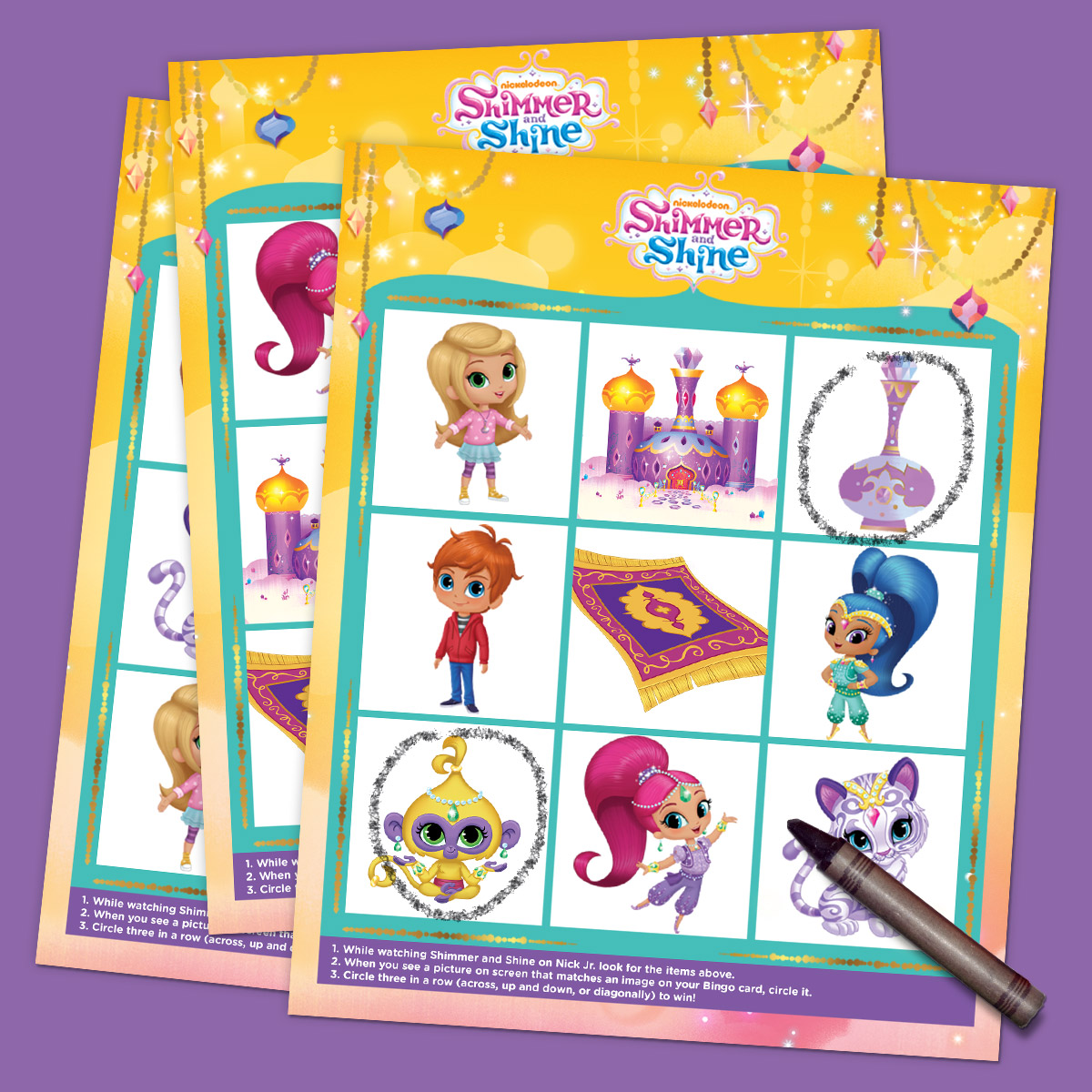 Shimmer and Shine TV Bingo Printable