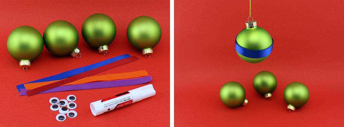 TMNT Googly-eyed Ornaments Steps 1,2