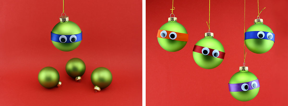 TMNT Googly-eyed Ornaments Steps 3,4