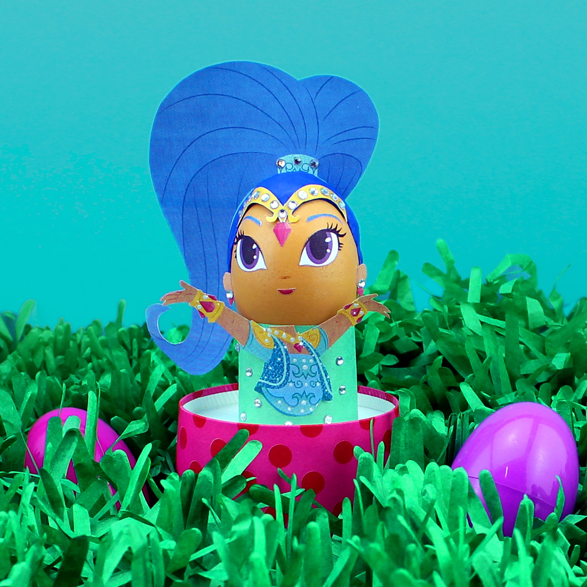 DIY Shimmer and Shine Easter Egg