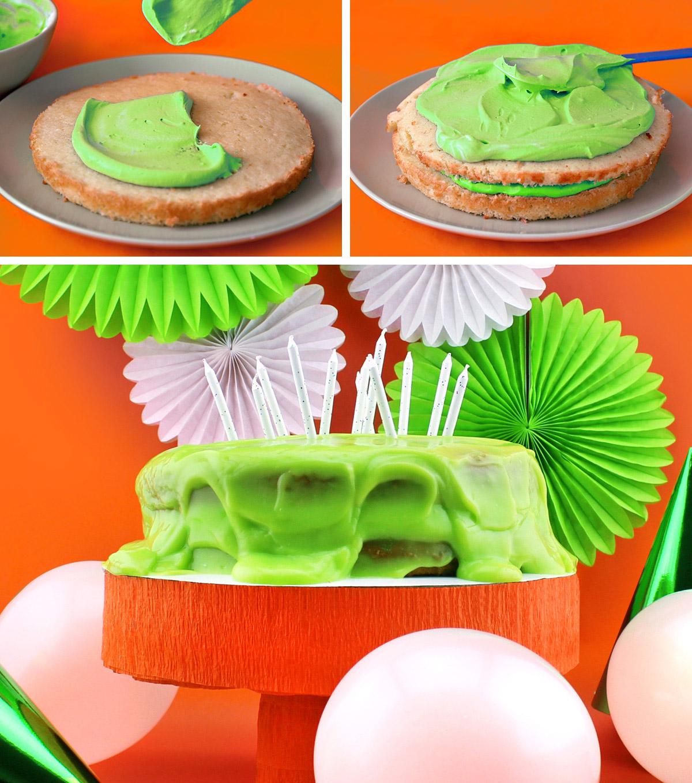 Nickelodeon Slime Cake steps 5-7