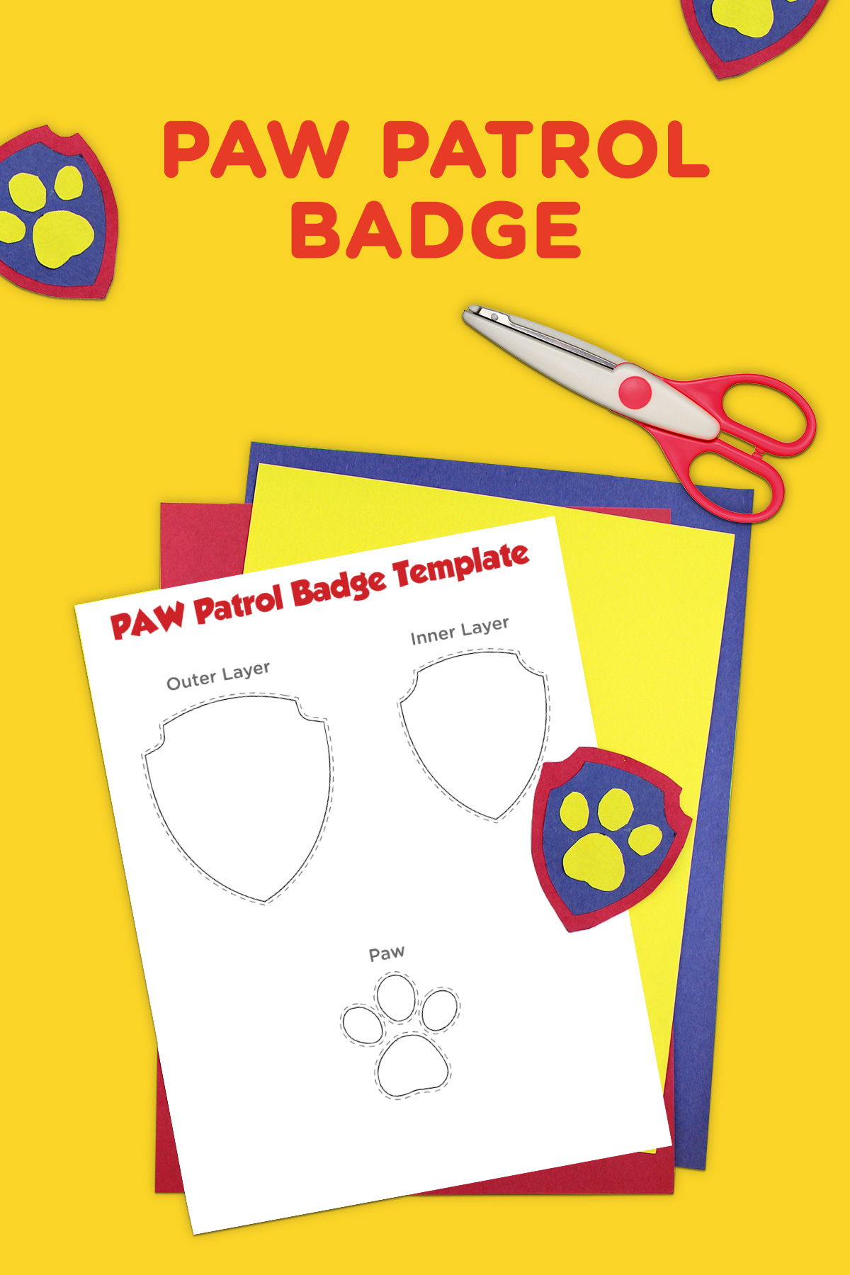 graphic regarding Paw Patrol Printable Pictures identify PAW Patrol Printable Badge Template Nickelodeon Moms and dads