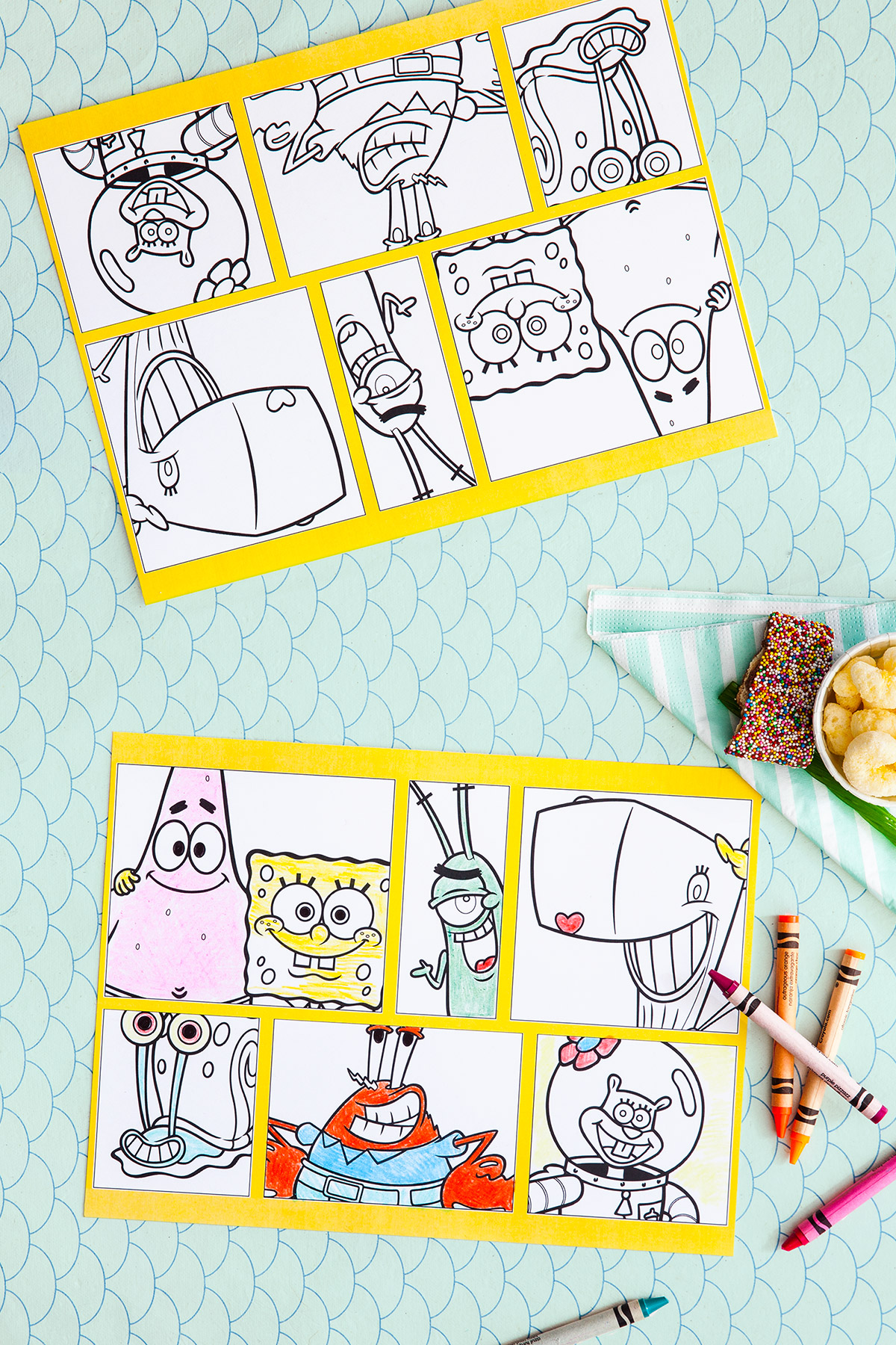 picture relating to Spongebob Printable titled SpongeBob Printable Get together Placemats Nickelodeon Moms and dads