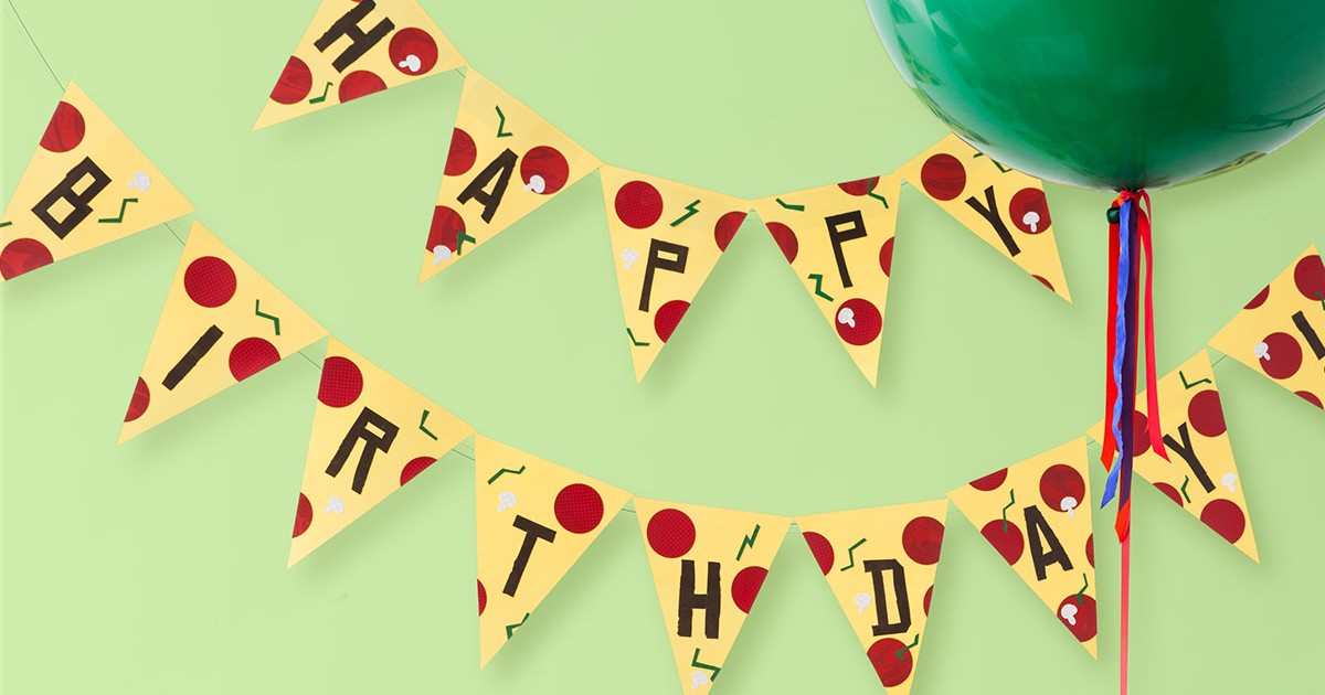 TMNT Printable Pizza Pendant Birthday Banner