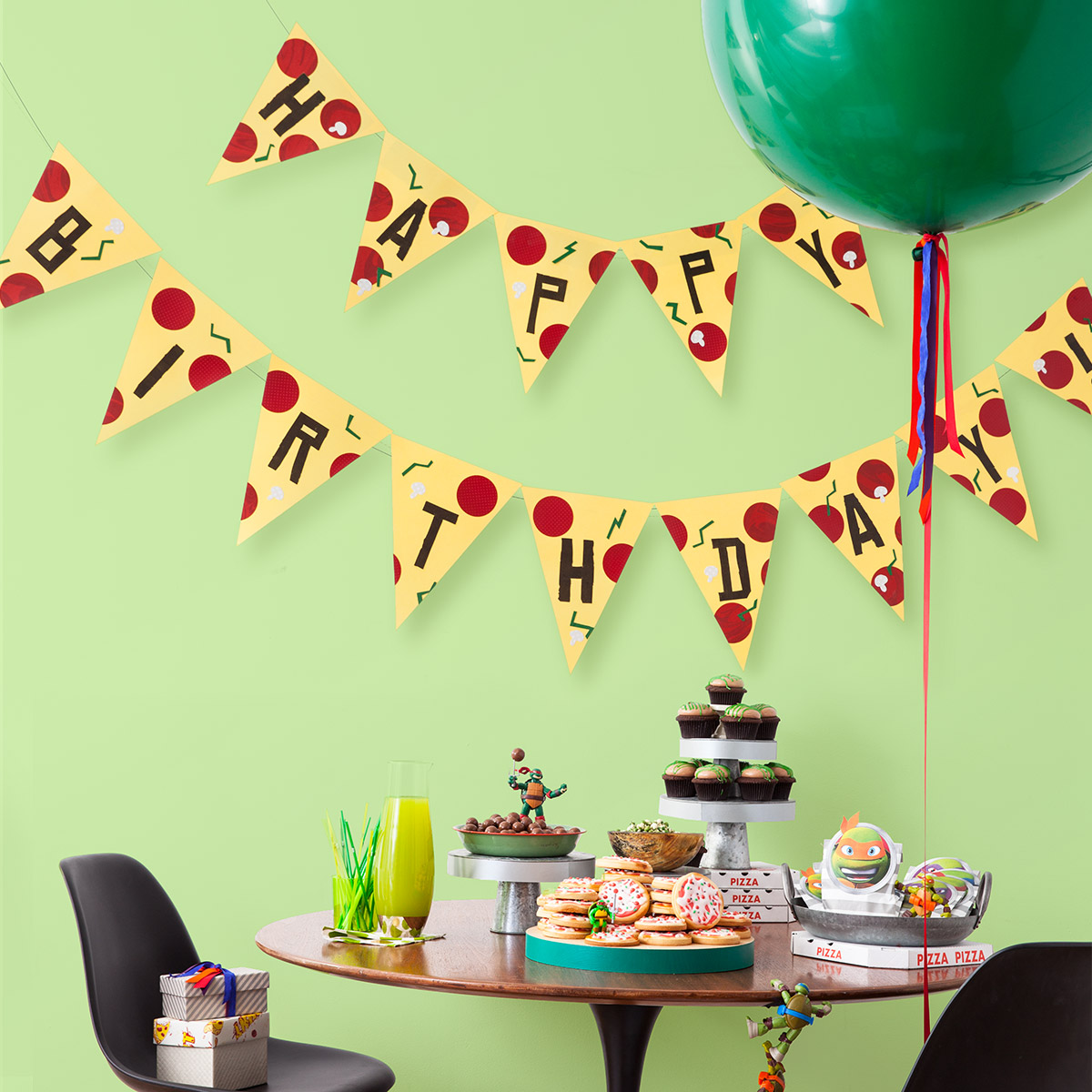 TMNT Printable Pizza Pendant Birthday Banner