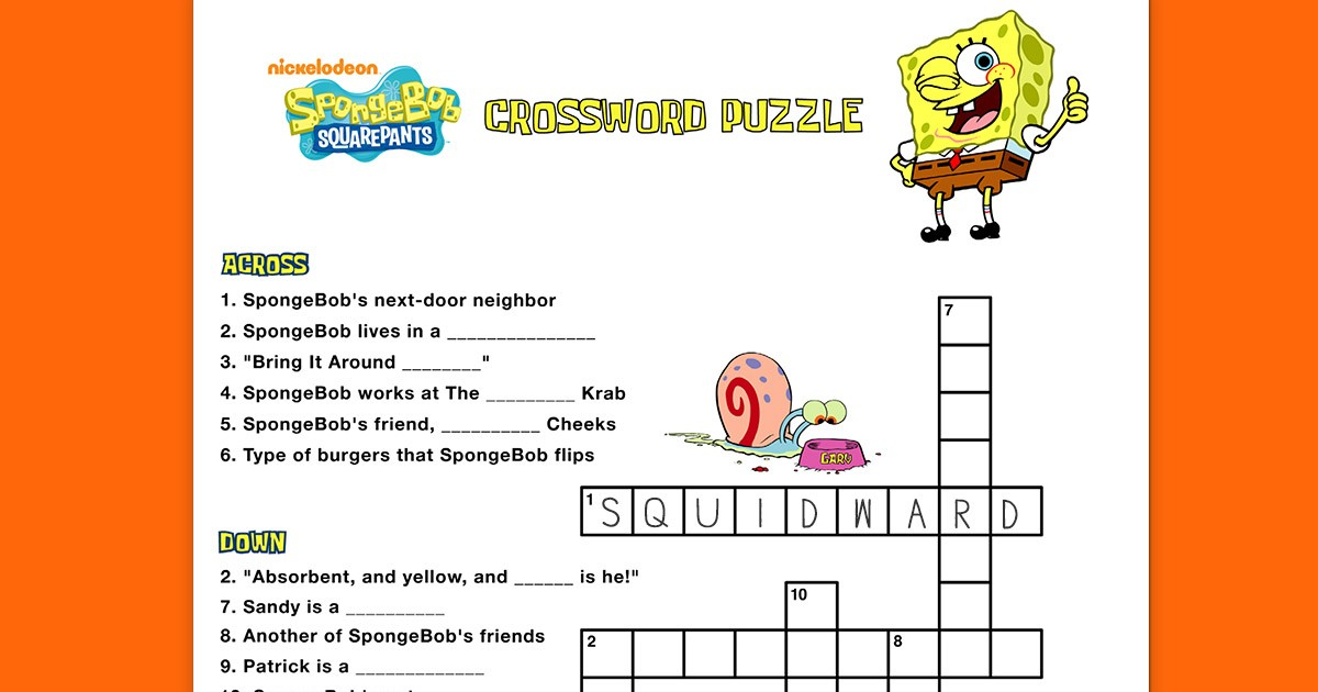 Spongebob Crossword Puzzle Nickelodeon Parents