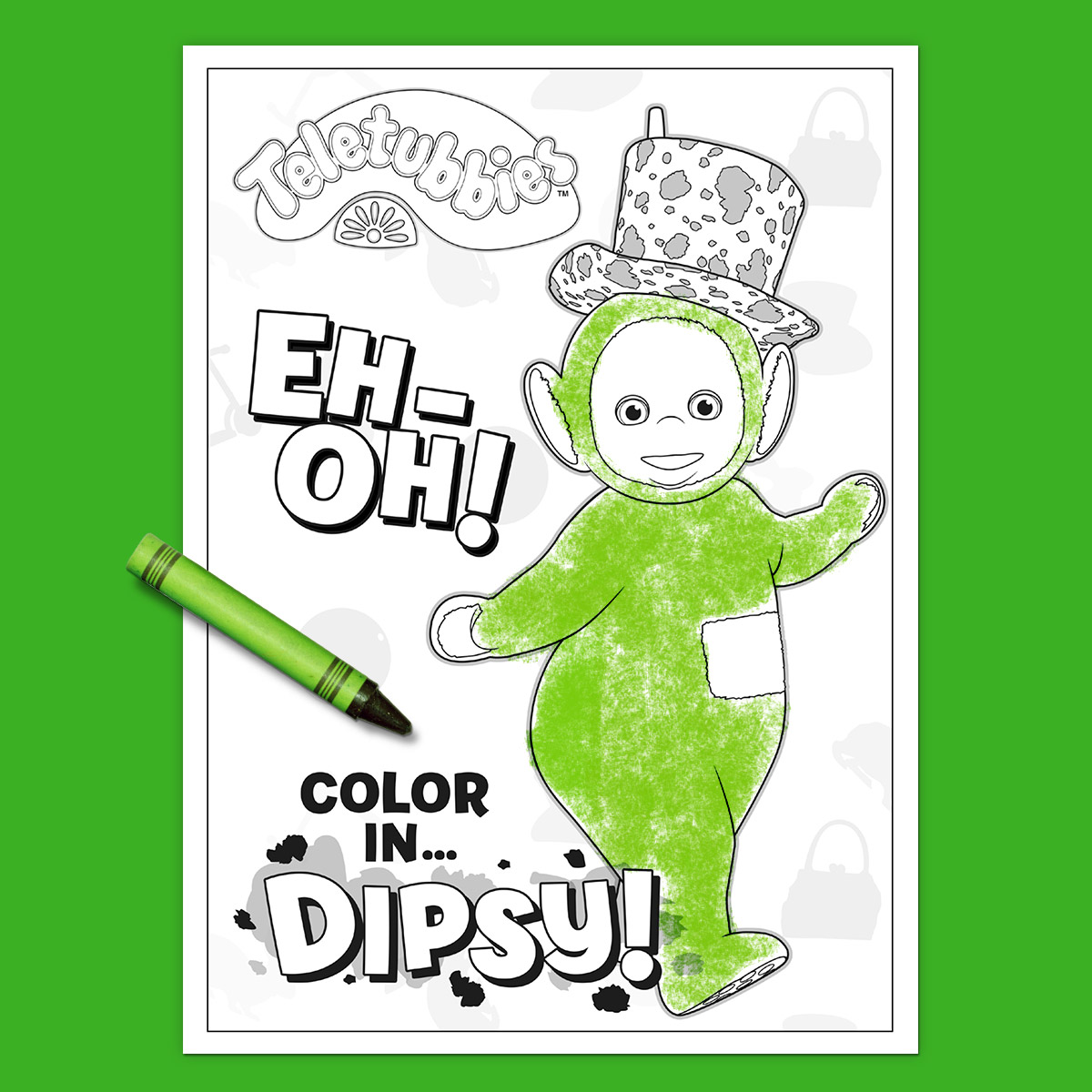 Teletubbies Coloring Page: Dipsy