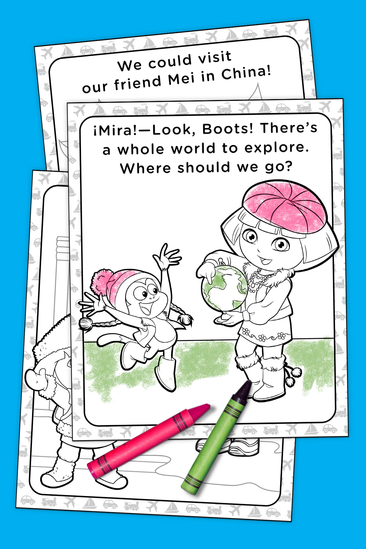 Dora Around the World Coloring