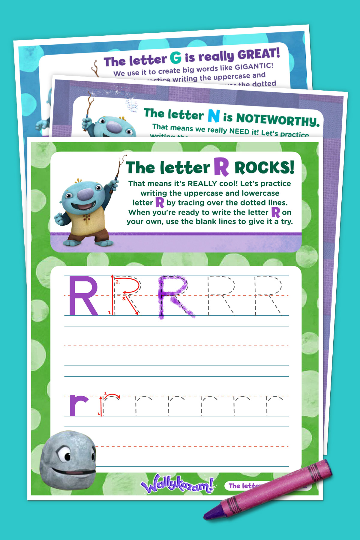 photograph about Letter Tracing Printable named Wallykazam! Letter Tracing Pack Nickelodeon Mothers and fathers