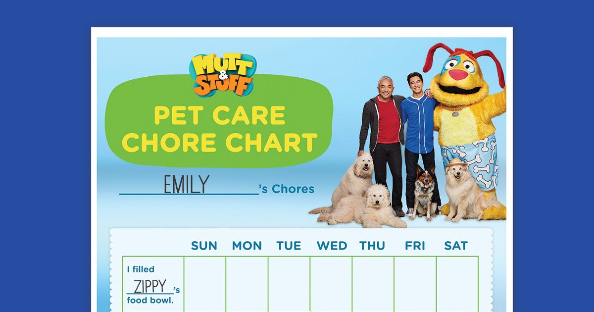 Mutt amp Stuff First Pet Chore Chart