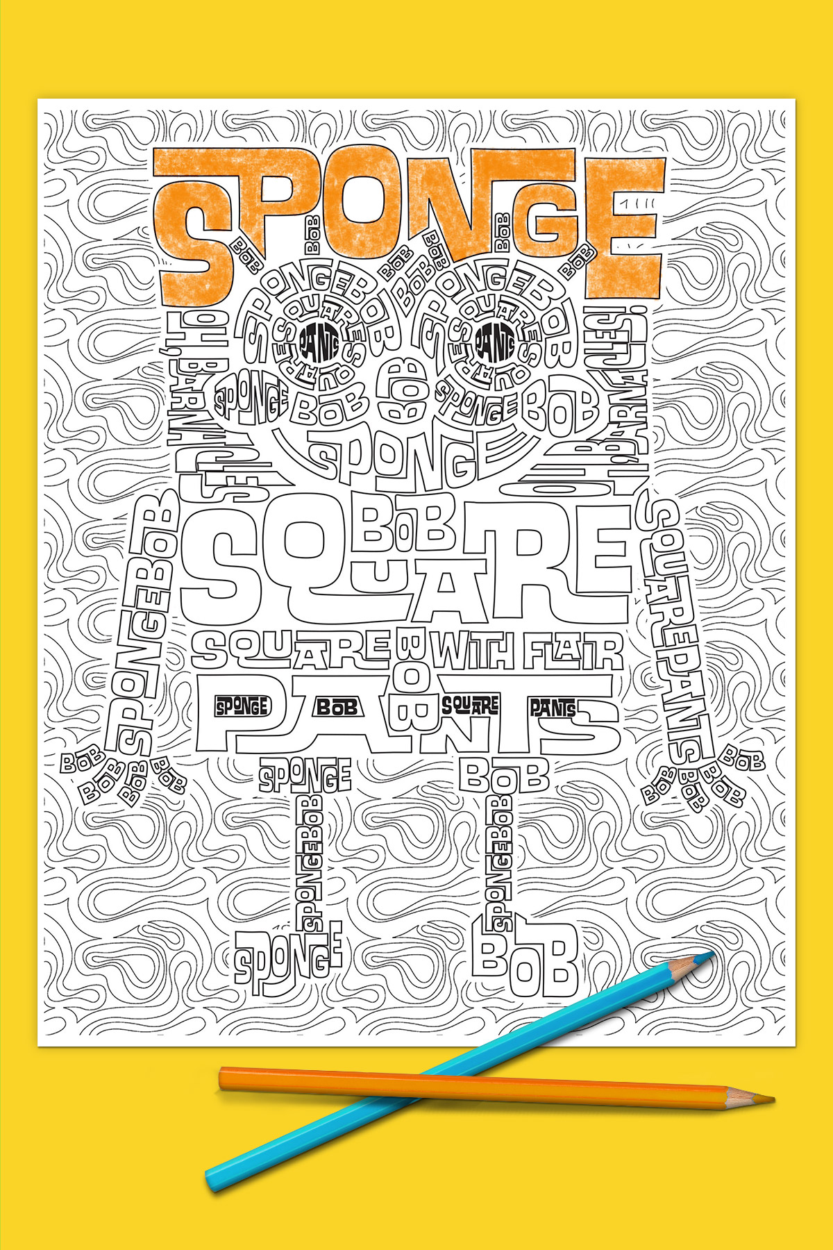 SpongeBob Adult Coloring Page