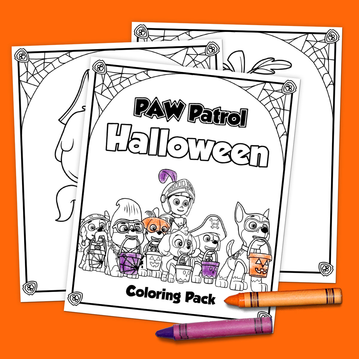 Savesave to pinterest paw halloween coloring pack