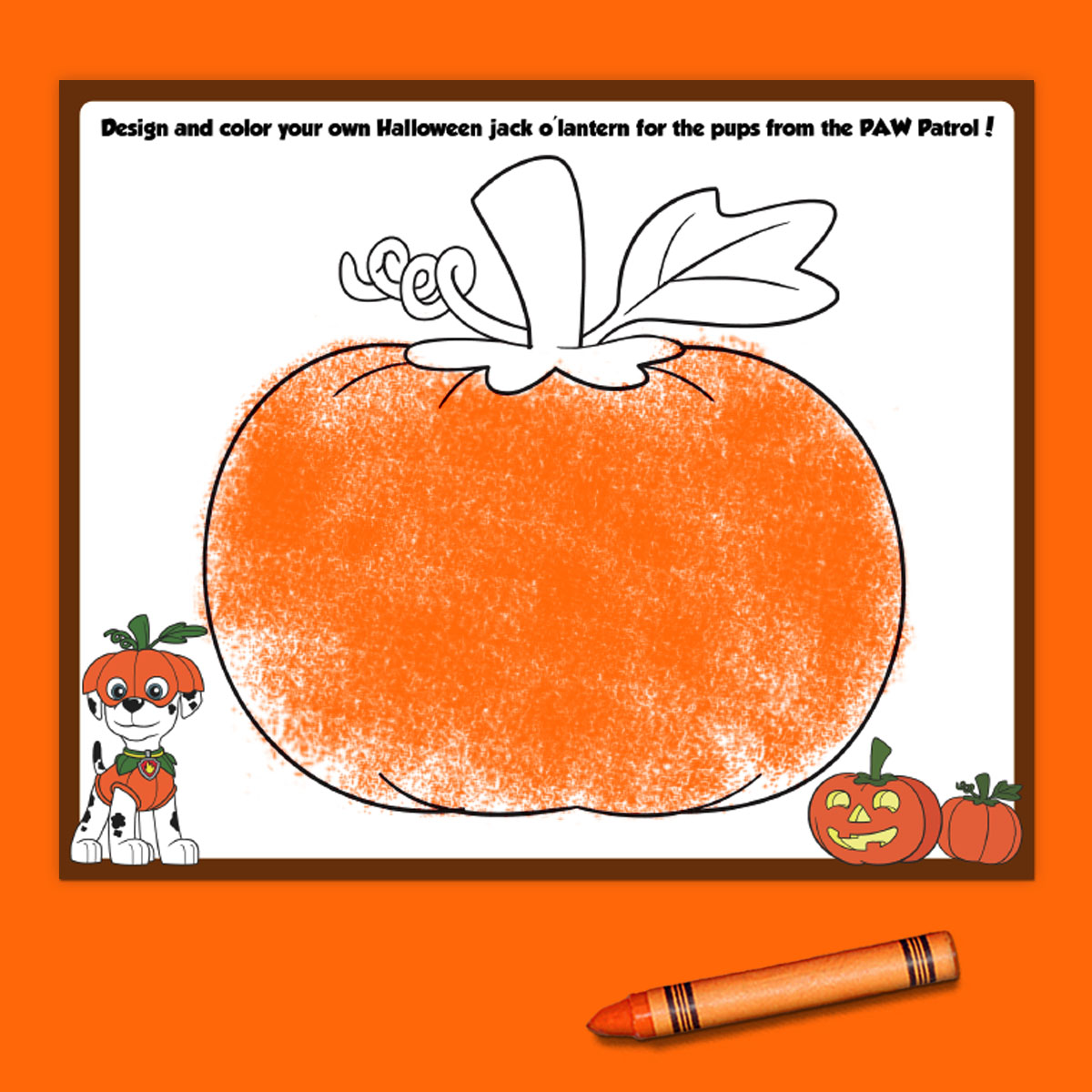 PAW Patrol Draw a Pumpkin Printable