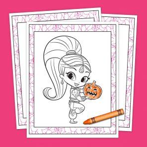 Genie Halloweenie Coloring