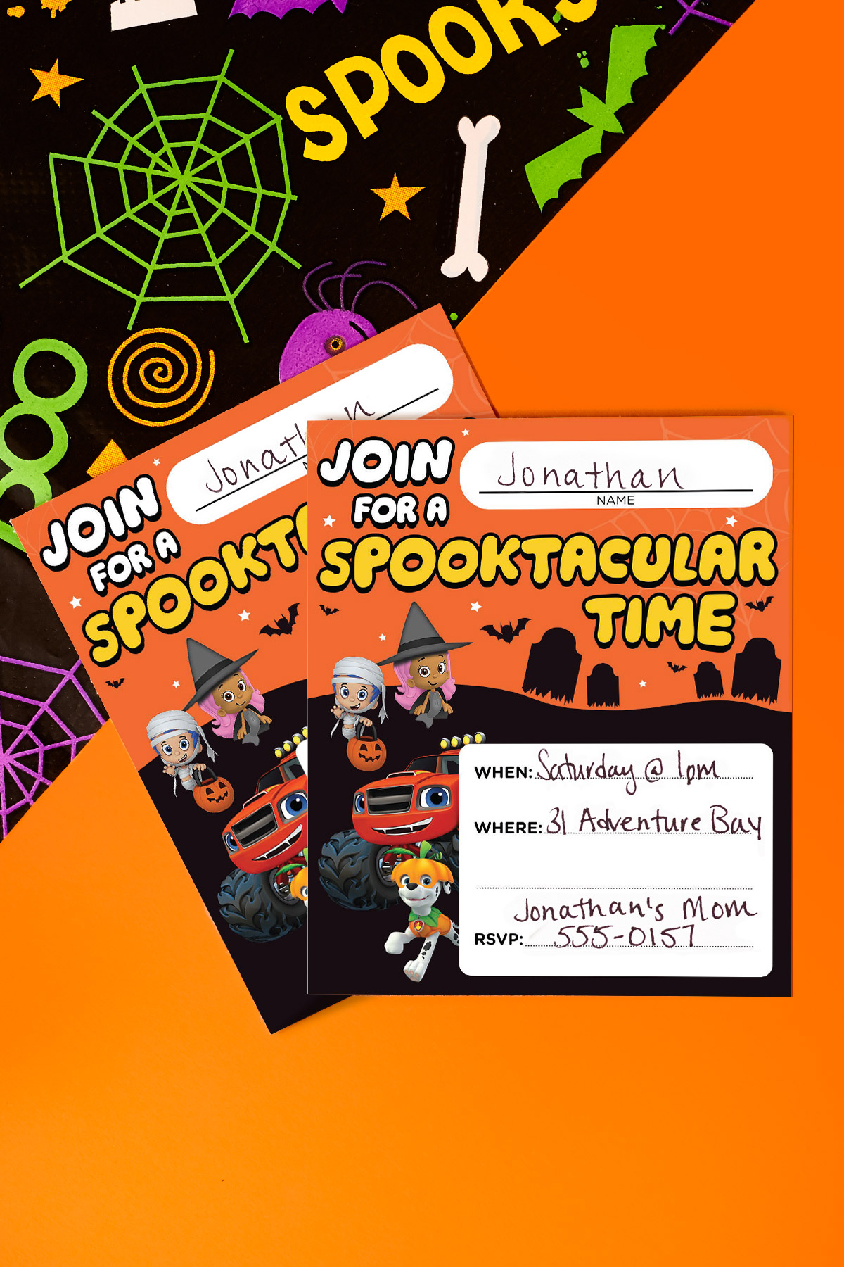 image relating to Halloween Invites Printable called Nick Jr. Halloween Social gathering Invites Nickelodeon Mom and dad