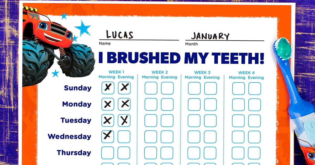 photograph regarding Printable Tooth Brushing Charts identified as Blaze Enamel Brushing Chart Nickelodeon Mothers and fathers