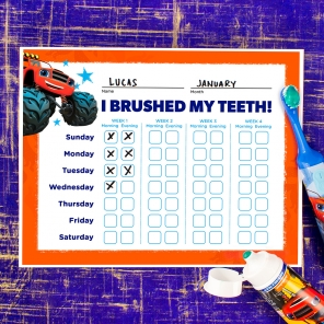 Blaze Teeth Brushing Chart