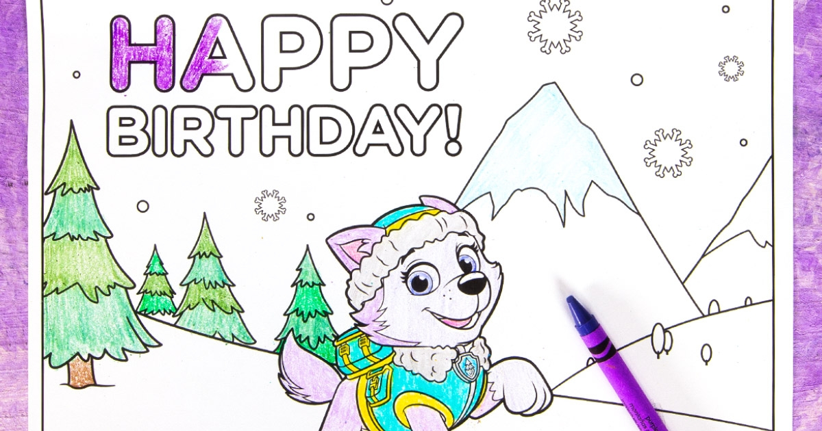 Everest Birthday Party Coloring