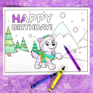 graphic relating to Paw Patrol Printable Birthday Card known as Everest Birthday Social gathering Coloring Web page Nickelodeon Mother and father