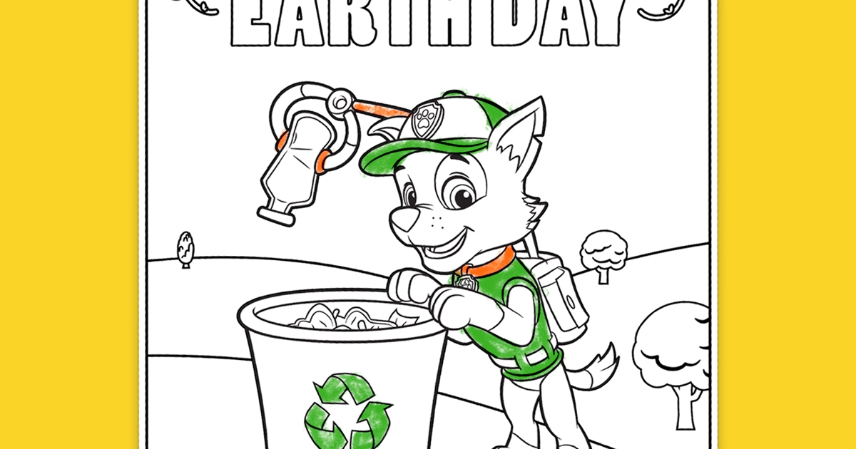PAW Patrol Rocky Earth Day Coloring