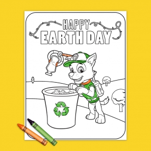 PAW Patrol Rocky Earth Day Coloring Page