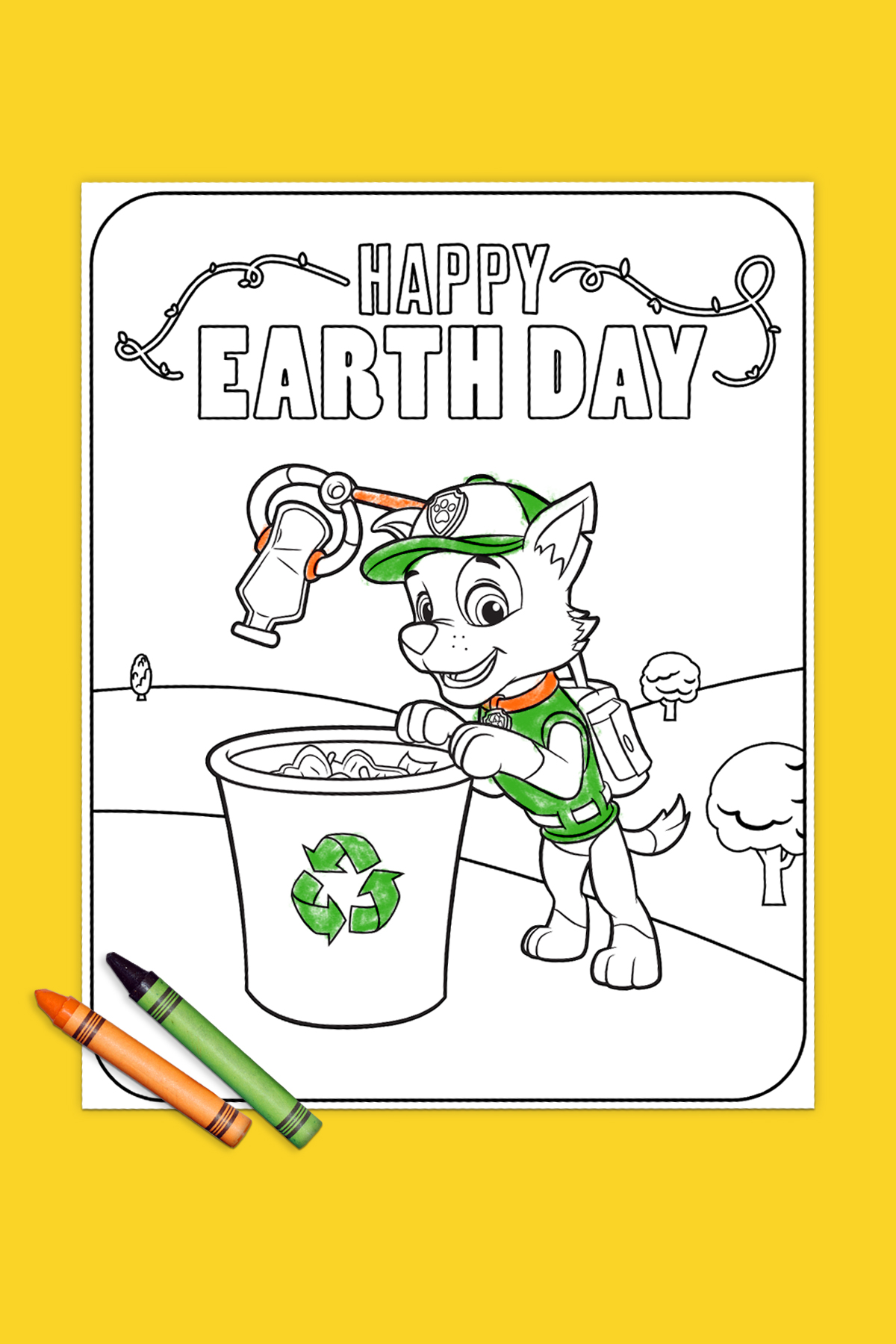 SaveSave To Pinterest Earth Day Rocky Recycling Coloring Page