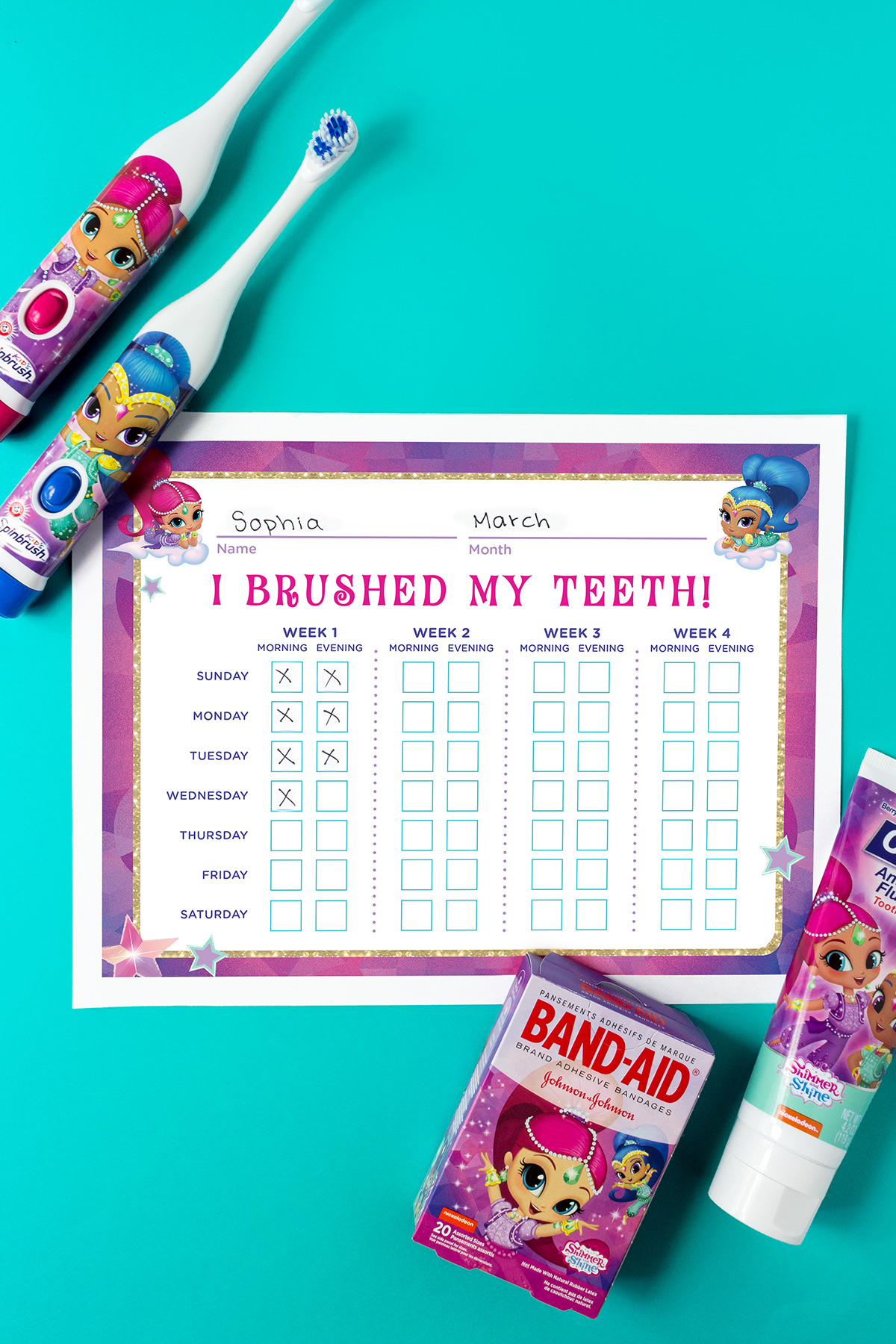 Shimmer and Shine Teeth Brushing Chart