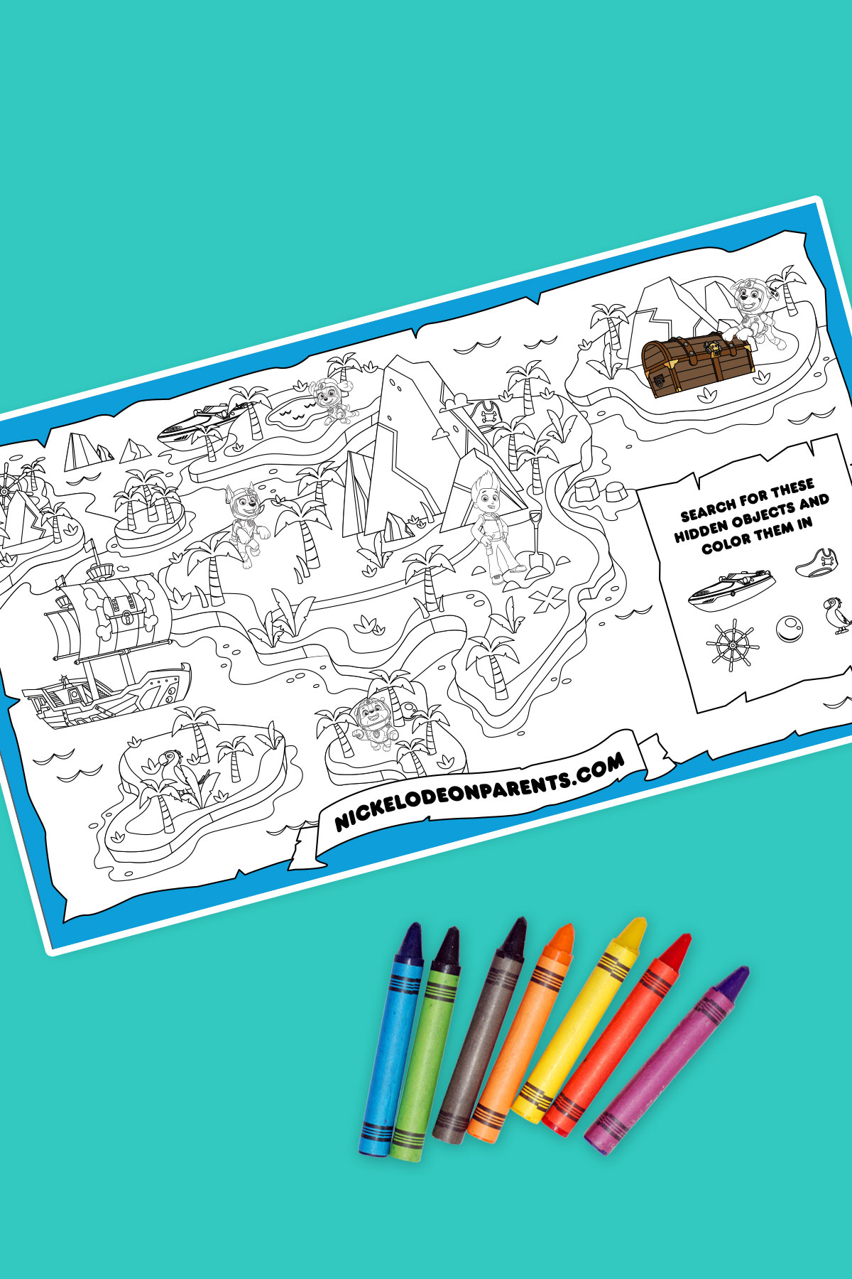 graphic about Printable Treasure Maps named Sea Patrol Printable Treasure Map Nickelodeon Mom and dad