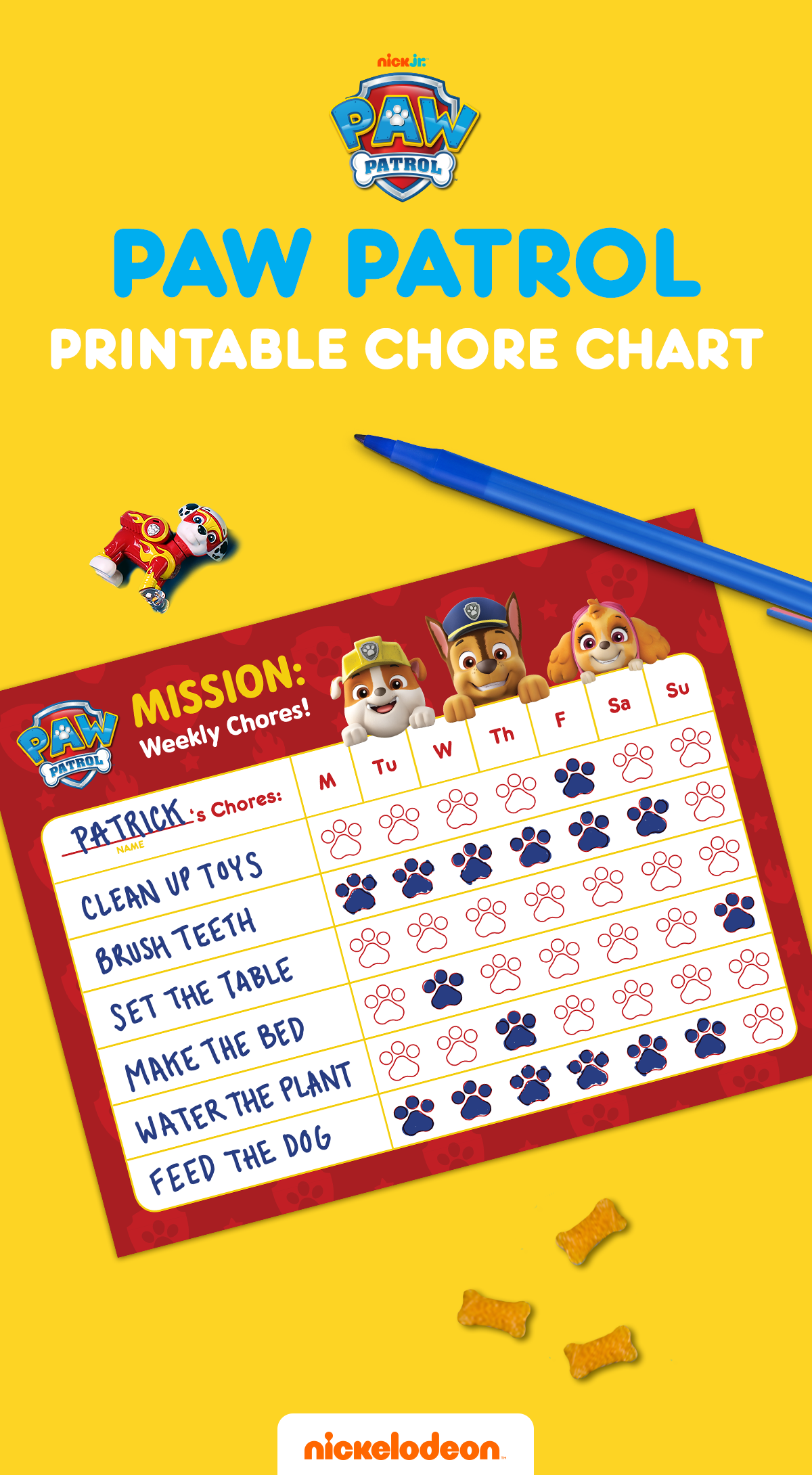 graphic regarding Chores Printable named PAW Patrol Chore Chart Nickelodeon Moms and dads