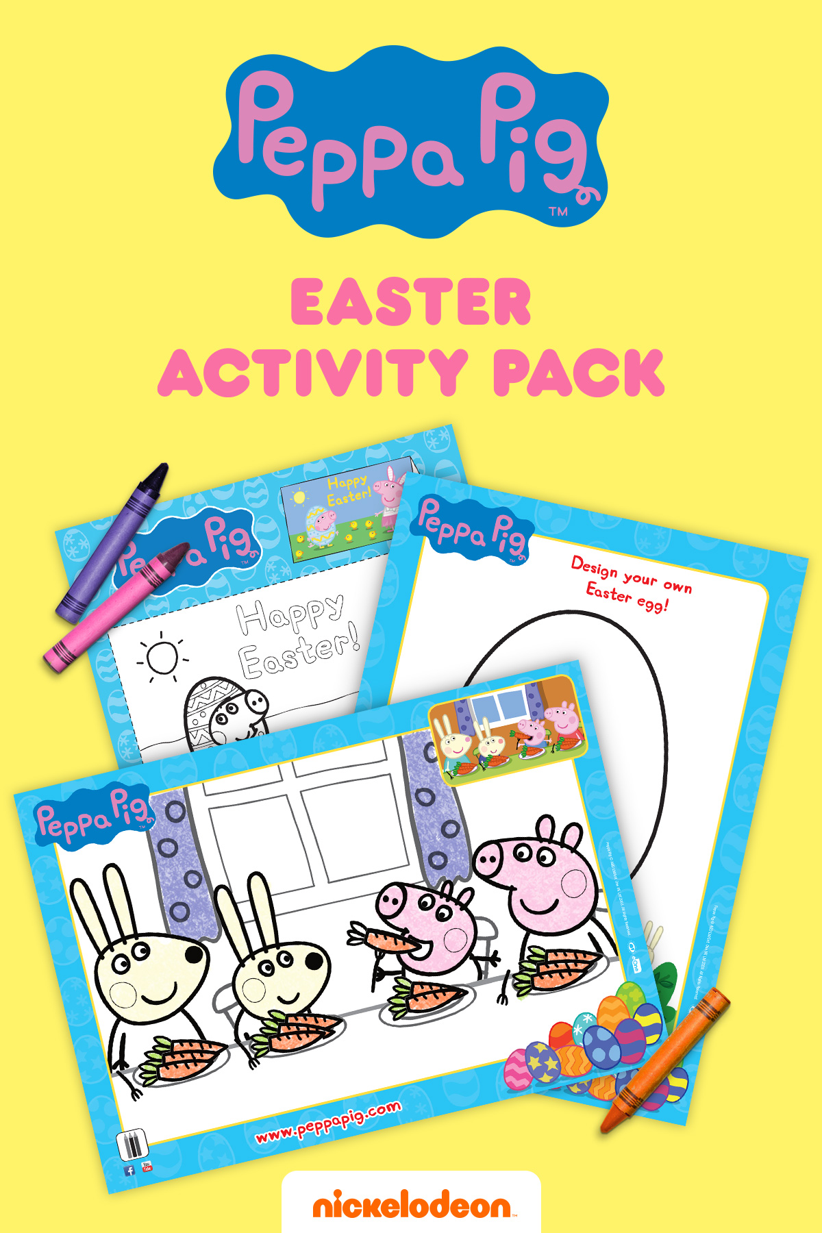 Peppa Pig Easter Coloring Sheets