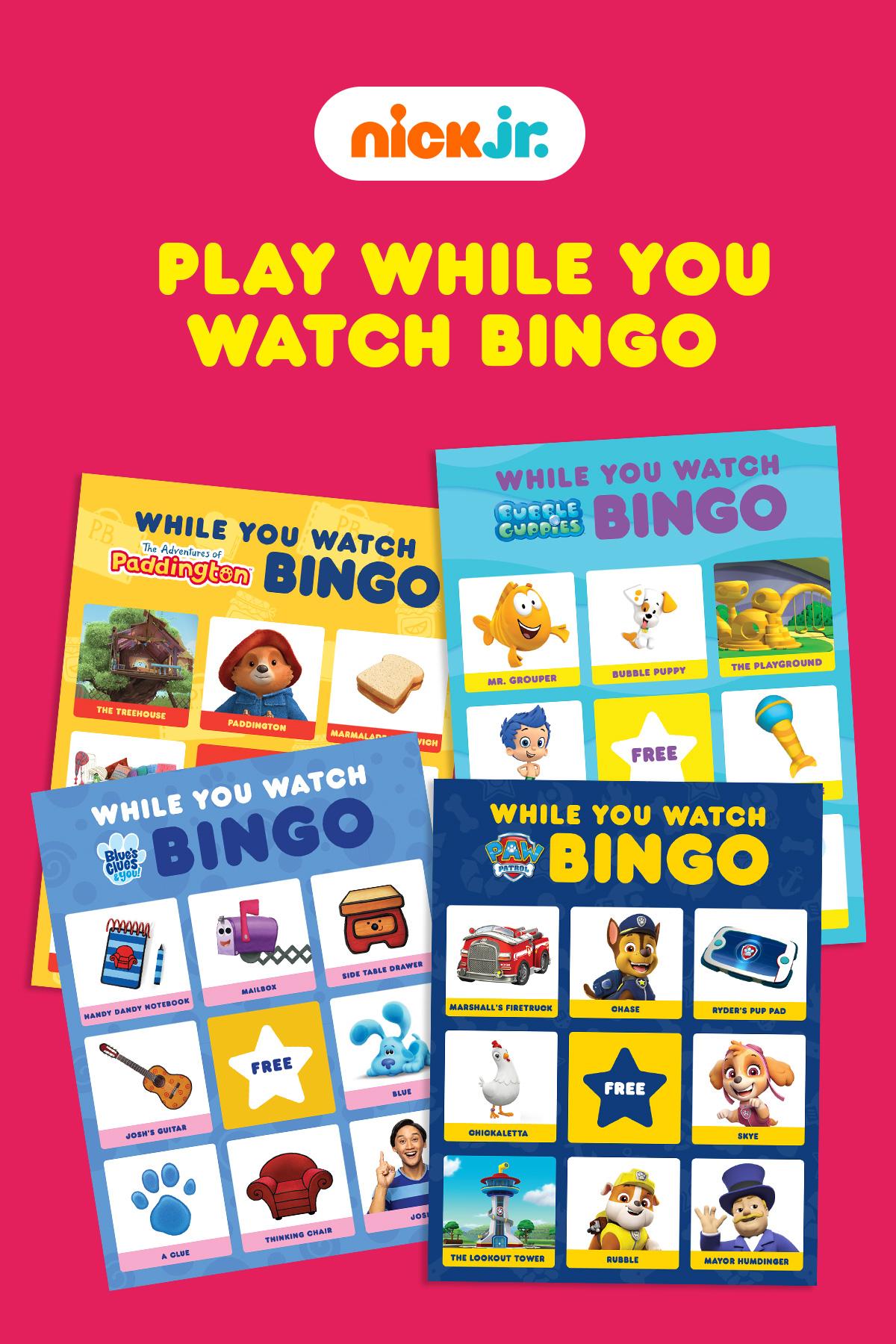 Nick Jr While You Watch Bingo