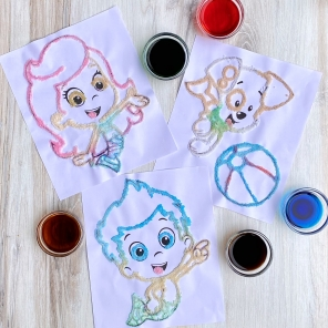 Salt Painting with the Bubble Guppies