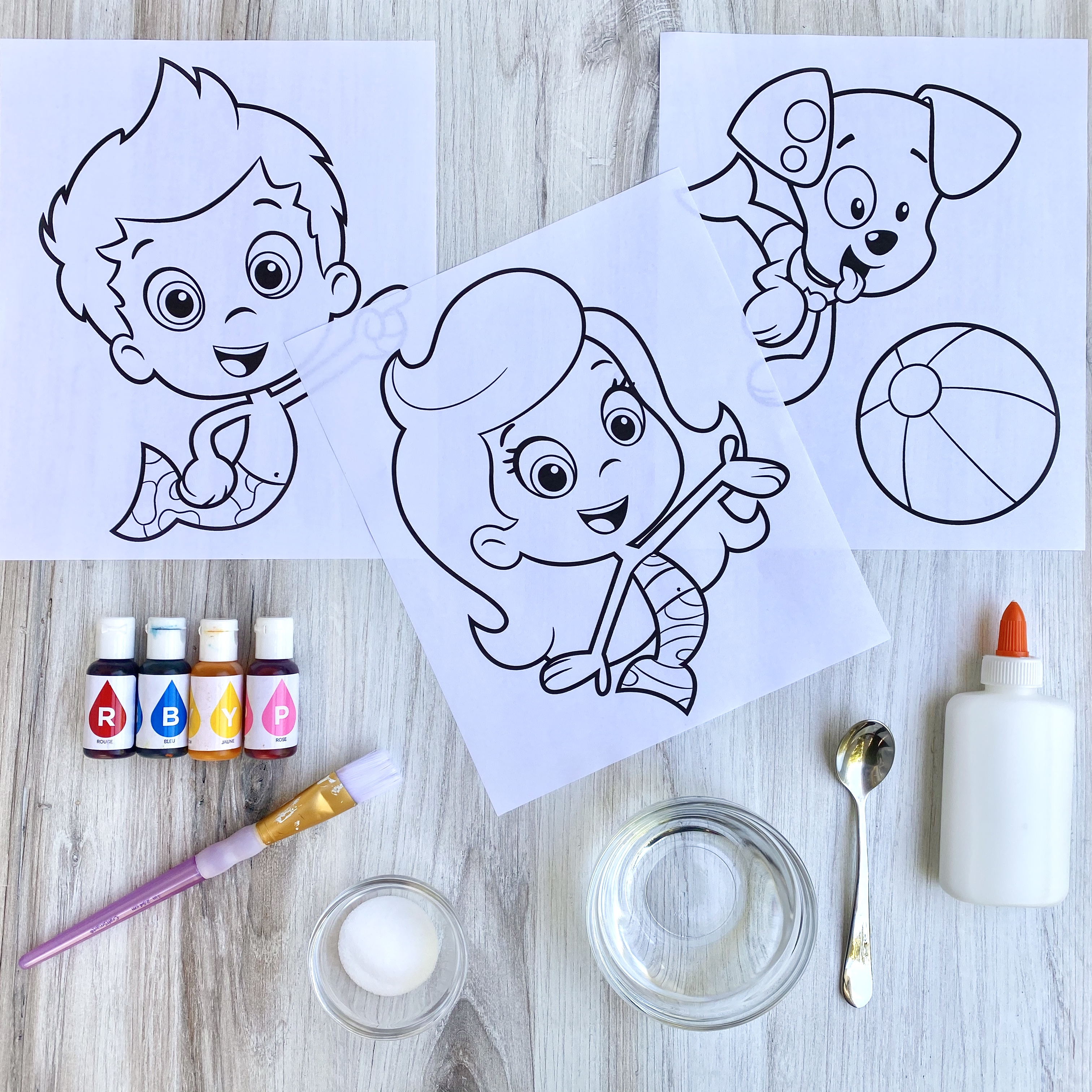 Bubble Guppies Salt Painting Materials