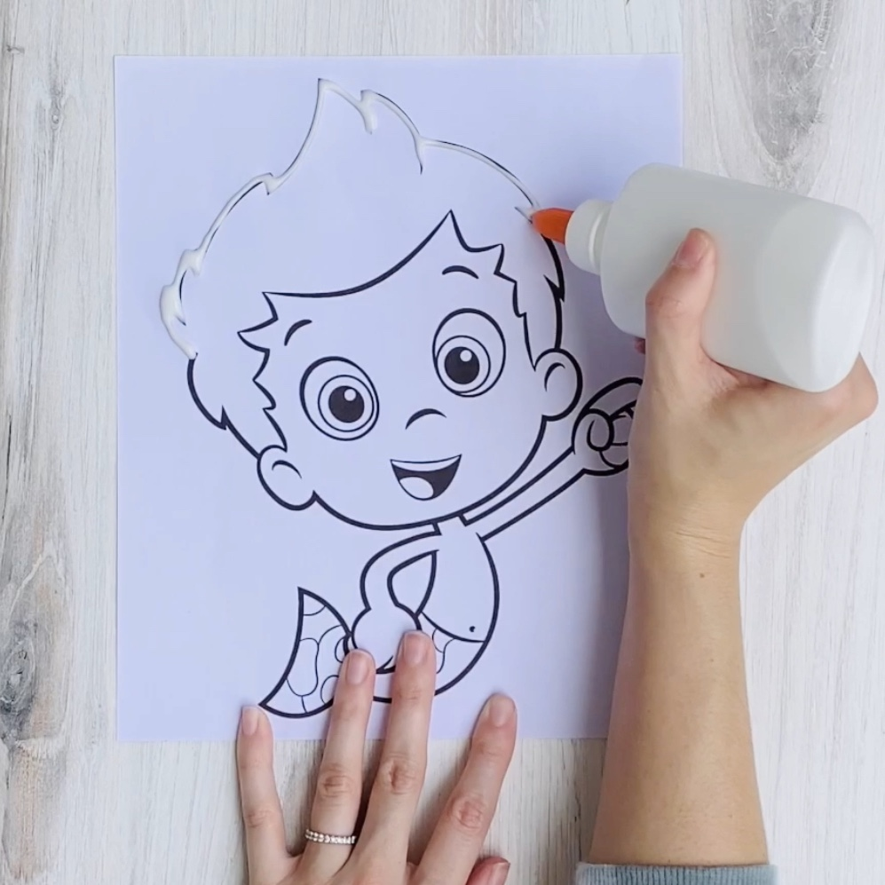 Bubble Guppies Salt Painting Step 2