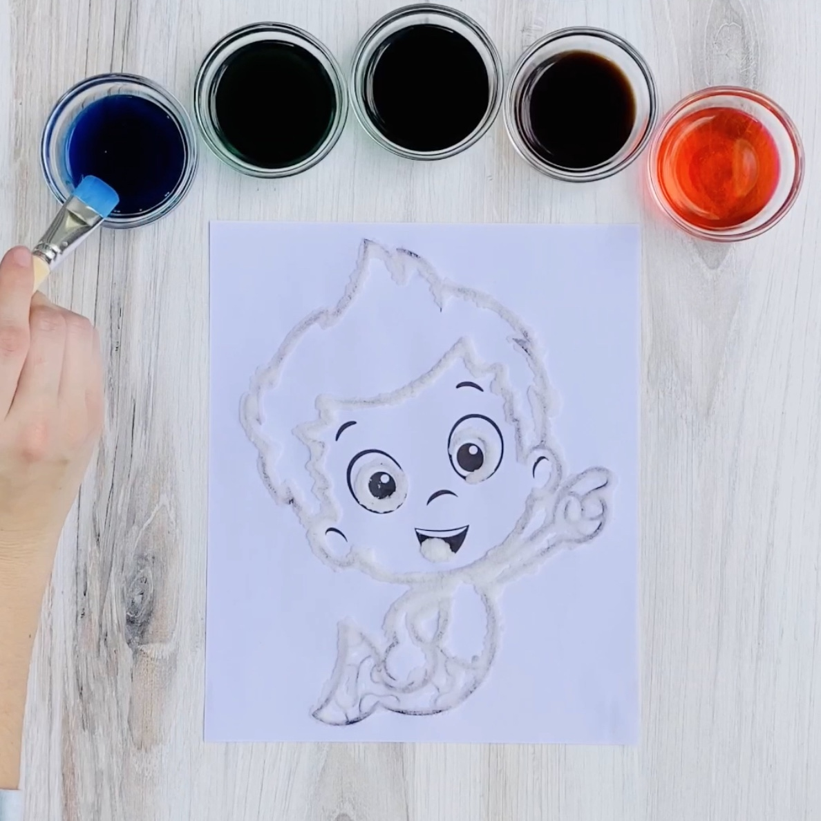 Bubble Guppies Salt Painting Step 4a