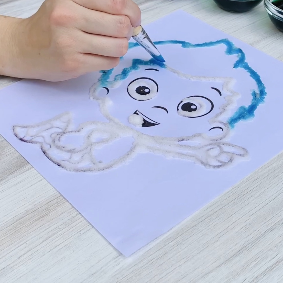Bubble Guppies Salt Painting Step 4