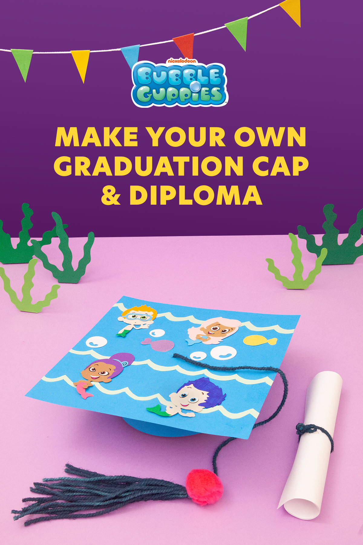 Bubble Guupies Graduation Cap and Diploma