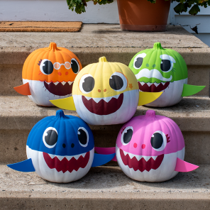Painted Baby Shark Pumpkin Decorations
