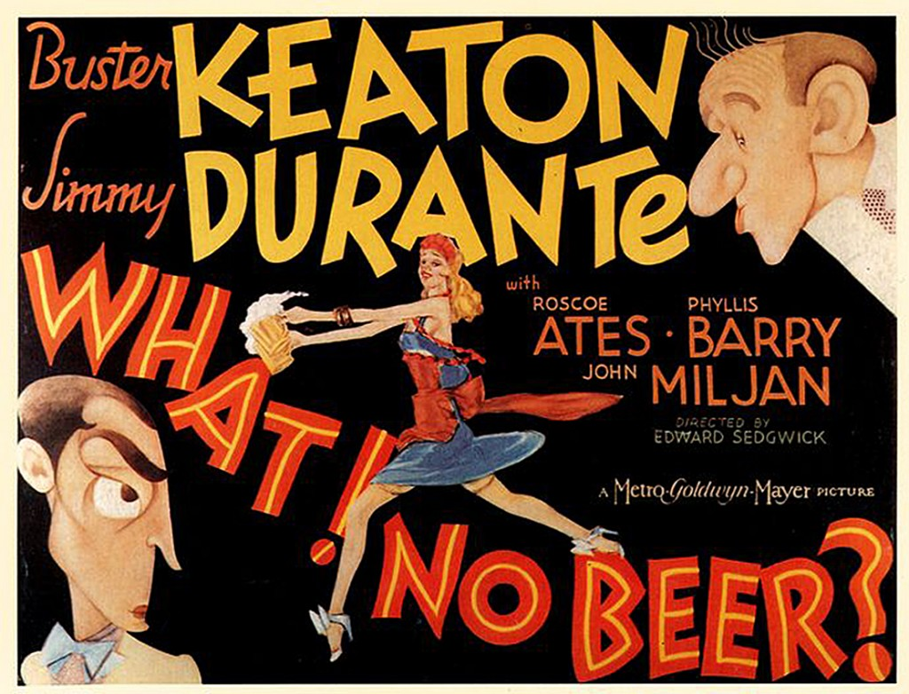 WHAT ! NO BEER POSTER - BUSTER KEATON - JIMMY DURANTE
