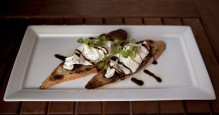 BURRATA CROSTINI: Burrata, fig compte, grilled baguette, balsamic reduction. To be eaten at every meal.