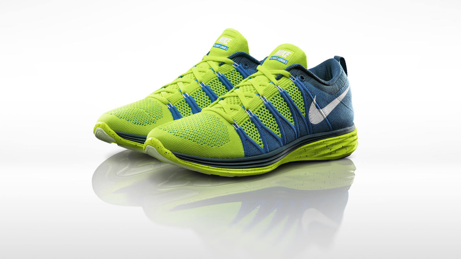 nike flyknit lunar2 shoes sp14 cushion running shoes yellow white