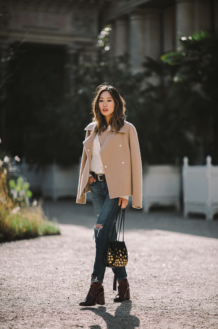 aimee_song_camel_jacket_ripped_jeans_topshop_boots_chloe_inez_studded_Drawstring_bag