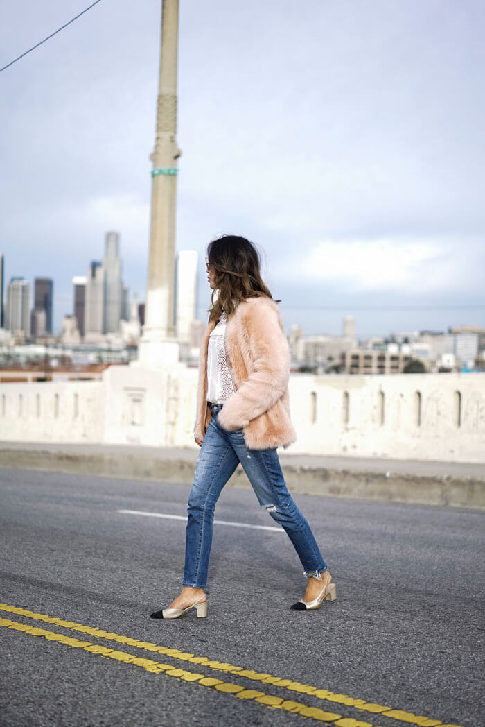 aimee_song_of_style_pink_coat_ag_jeans_chanel_slings