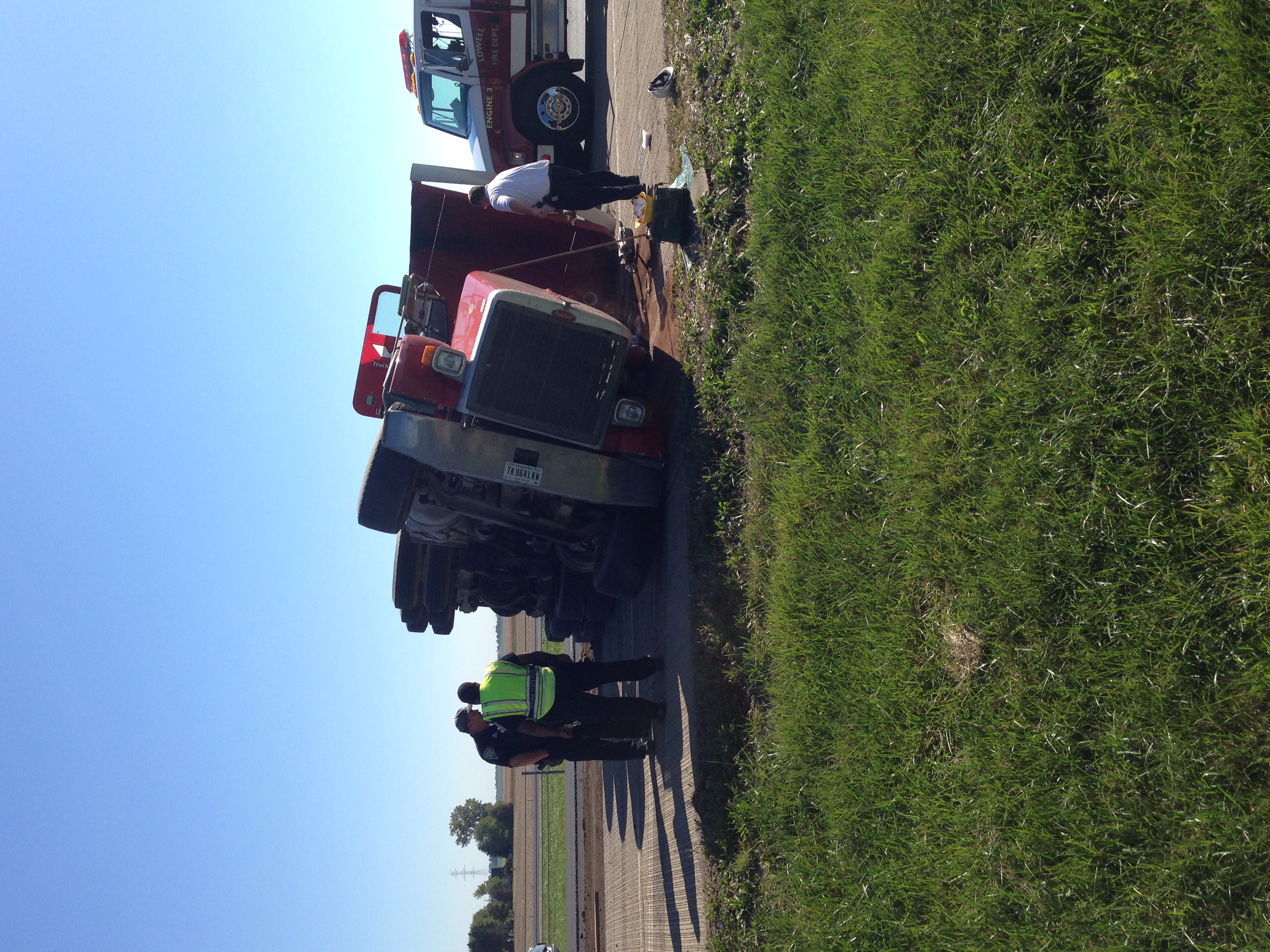 A Semi rolled over on I-65 north of Lowell today