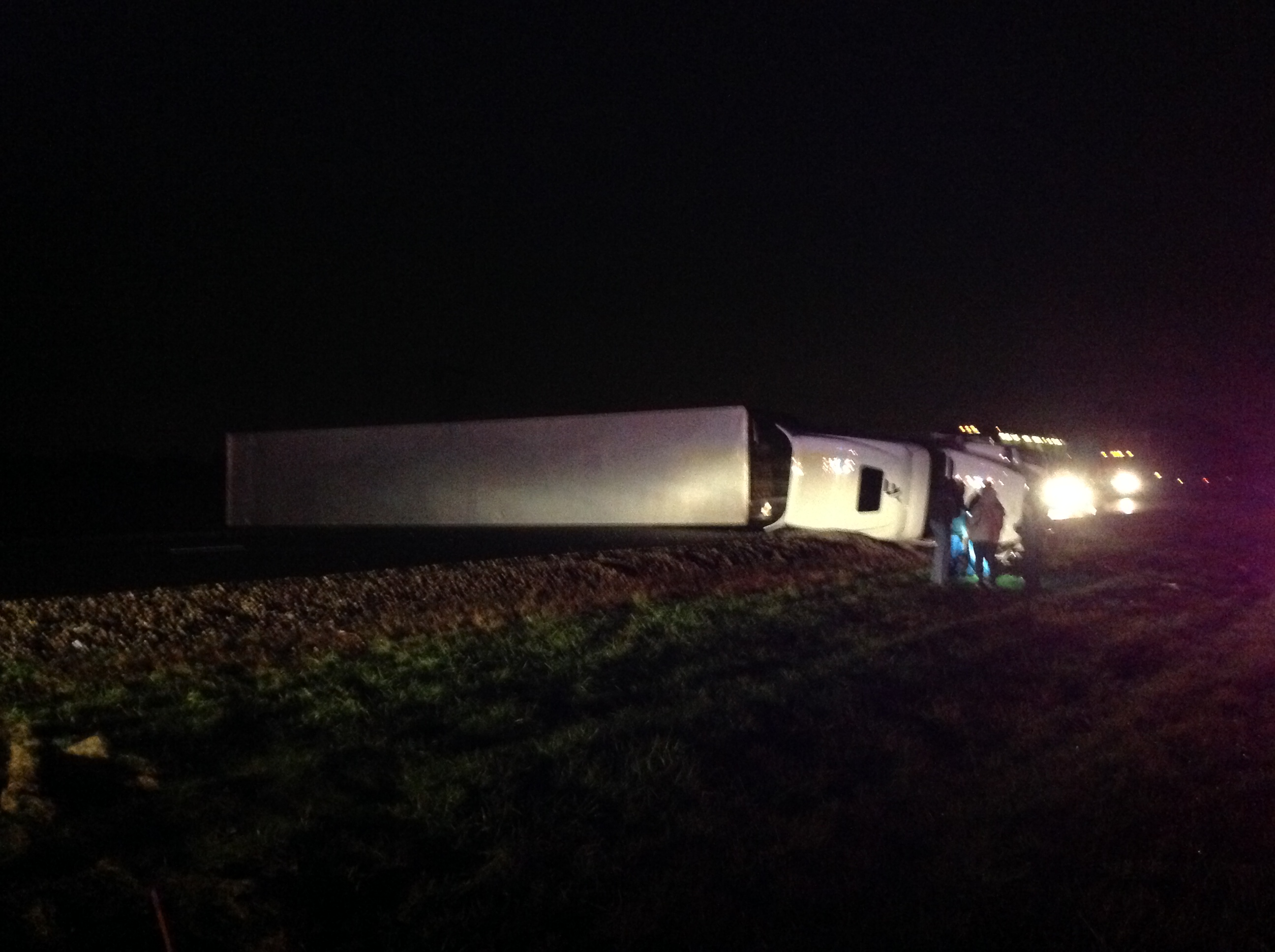 Semi rolled on I-65